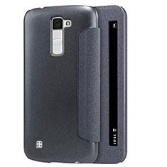LG K10用手帳型 レザーケース スタンド LG ブラック