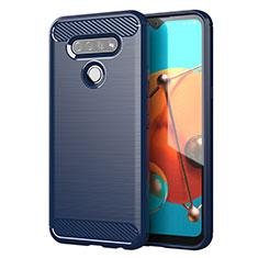 LG K51用シリコンケース ソフトタッチラバー ライン カバー LG ネイビー