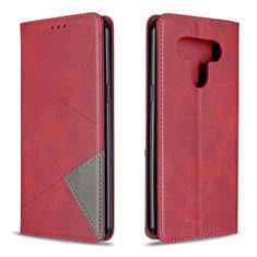 LG K51用手帳型 レザーケース スタンド カバー LG レッド