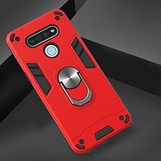 LG K51用ハイブリットバンパーケース プラスチック アンド指輪 マグネット式 LG レッド