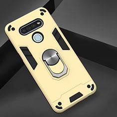 LG K51用ハイブリットバンパーケース プラスチック アンド指輪 マグネット式 LG ゴールド