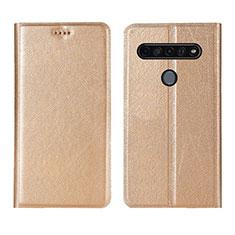 LG K51S用手帳型 レザーケース スタンド カバー LG ゴールド