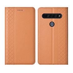 LG K51S用手帳型 レザーケース スタンド カバー L01 LG オレンジ