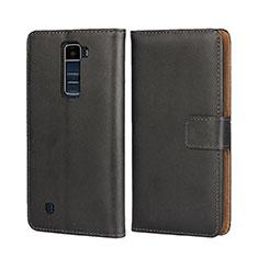 LG K7用手帳型 レザーケース スタンド LG ブラック