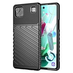 LG K92 5G用シリコンケース ソフトタッチラバー ツイル カバー LG ブラック