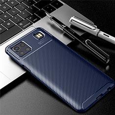LG K92 5G用シリコンケース ソフトタッチラバー ツイル カバー S01 LG ネイビー