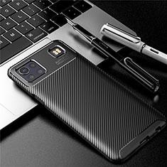 LG K92 5G用シリコンケース ソフトタッチラバー ツイル カバー S01 LG ブラック