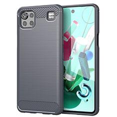 LG K92 5G用シリコンケース ソフトタッチラバー ライン カバー LG グレー