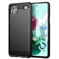 LG K92 5G用シリコンケース ソフトタッチラバー ライン カバー LG ブラック