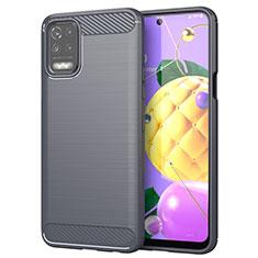 LG Q52用シリコンケース ソフトタッチラバー ライン カバー LG グレー