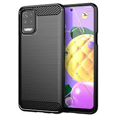 LG Q52用シリコンケース ソフトタッチラバー ライン カバー LG ブラック