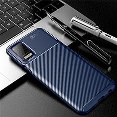 LG Q52用シリコンケース ソフトタッチラバー ツイル カバー LG ネイビー