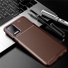 LG Q52用シリコンケース ソフトタッチラバー ツイル カバー LG ブラウン
