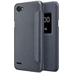 LG Q6用手帳型 レザーケース スタンド LG ブラック