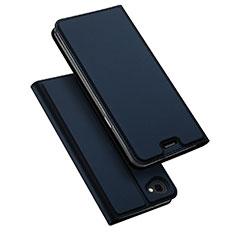 LG Q6用手帳型 レザーケース スタンド LG ネイビー