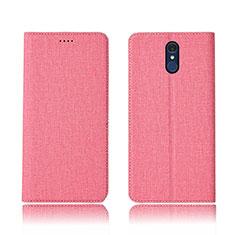 LG Q7用手帳型 布 スタンド LG ピンク