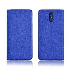 LG Q7用手帳型 布 スタンド LG ネイビー