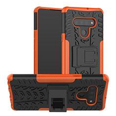 LG Stylo 6用ハイブリットバンパーケース スタンド プラスチック 兼シリコーン カバー LG オレンジ