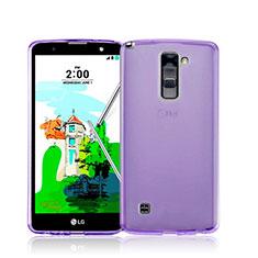 LG Stylus 2 Plus用極薄ソフトケース シリコンケース 耐衝撃 全面保護 クリア透明 LG パープル