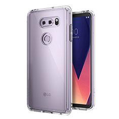 LG V30用極薄ソフトケース シリコンケース 耐衝撃 全面保護 クリア透明 カバー LG クリア