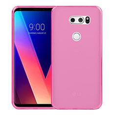 LG V30用極薄ソフトケース シリコンケース 耐衝撃 全面保護 クリア透明 LG ピンク