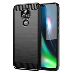 Motorola Moto E7 Plus用シリコンケース ソフトタッチラバー ライン カバー モトローラ ブラック