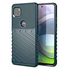Motorola Moto G 5G用シリコンケース ソフトタッチラバー ツイル カバー モトローラ グリーン