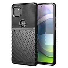 Motorola Moto G 5G用シリコンケース ソフトタッチラバー ツイル カバー モトローラ ブラック