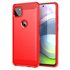 Motorola Moto G 5G用シリコンケース ソフトタッチラバー ライン カバー モトローラ レッド