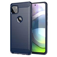 Motorola Moto G 5G用シリコンケース ソフトタッチラバー ライン カバー モトローラ ネイビー