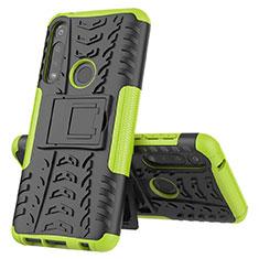 Motorola Moto G Power用ハイブリットバンパーケース スタンド プラスチック 兼シリコーン カバー モトローラ グリーン