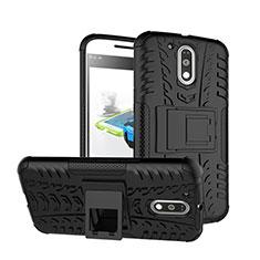 Motorola Moto G4 Plus用ハイブリットバンパーケース スタンド プラスチック モトローラ ブラック