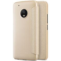 Motorola Moto G5 Plus用手帳型 レザーケース スタンド モトローラ ゴールド