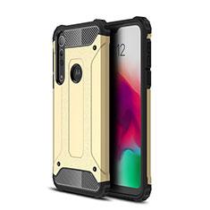 Motorola Moto G8 Play用ハイブリットバンパーケース プラスチック 兼シリコーン カバー モトローラ ゴールド