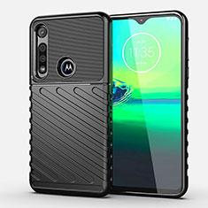 Motorola Moto G8 Play用シリコンケース ソフトタッチラバー ツイル カバー S01 モトローラ ブラック