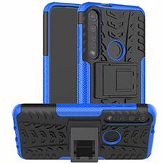 Motorola Moto G8 Plus用ハイブリットバンパーケース スタンド プラスチック 兼シリコーン カバー モトローラ ネイビー