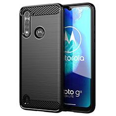 Motorola Moto G8 Power Lite用シリコンケース ソフトタッチラバー ライン カバー モトローラ ブラック