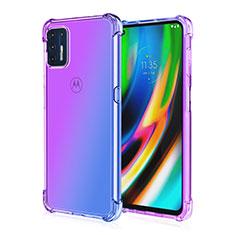 Motorola Moto G9 Plus用極薄ソフトケース シリコンケース 耐衝撃 全面保護 クリア透明 H01 モトローラ パープル