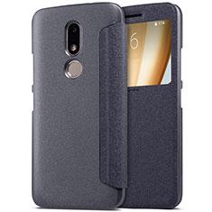 Motorola Moto M XT1662用手帳型 レザーケース スタンド モトローラ ブラック