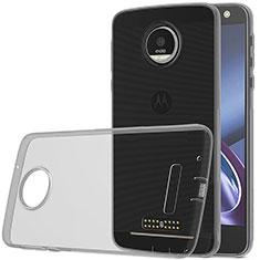 Motorola Moto Z Play用極薄ソフトケース シリコンケース 耐衝撃 全面保護 クリア透明 モトローラ グレー