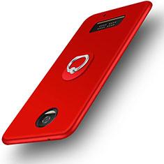Motorola Moto Z Play用極薄ソフトケース シリコンケース 耐衝撃 全面保護 アンド指輪 モトローラ レッド