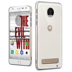 Motorola Moto Z Play用極薄ソフトケース シリコンケース 耐衝撃 全面保護 クリア透明 T04 モトローラ クリア