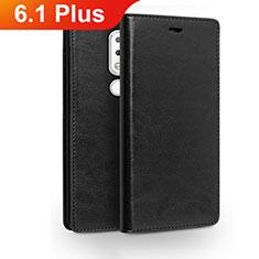 Nokia 6.1 Plus用手帳型 レザーケース スタンド ノキア ブラック