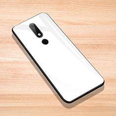 Nokia 6.1 Plus用ハイブリットバンパーケース プラスチック 鏡面 カバー ノキア ホワイト