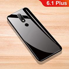 Nokia 6.1 Plus用ハイブリットバンパーケース プラスチック 鏡面 カバー ノキア ブラック