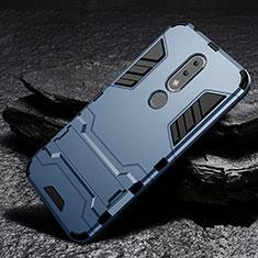 Nokia 6.1 Plus用ハイブリットバンパーケース スタンド プラスチック 兼シリコーン カバー ノキア ネイビー
