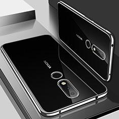 Nokia 6.1 Plus用極薄ソフトケース シリコンケース 耐衝撃 全面保護 クリア透明 H01 ノキア シルバー
