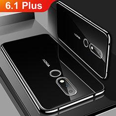 Nokia 6.1 Plus用極薄ソフトケース シリコンケース 耐衝撃 全面保護 クリア透明 H01 ノキア ブラック