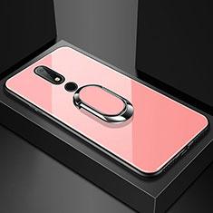 Nokia 6.1 Plus用ハイブリットバンパーケース プラスチック 鏡面 カバー アンド指輪 ノキア ローズゴールド