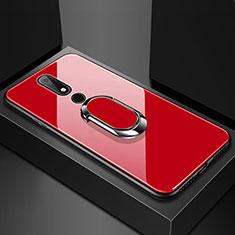 Nokia 6.1 Plus用ハイブリットバンパーケース プラスチック 鏡面 カバー アンド指輪 ノキア レッド